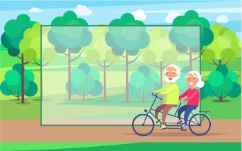 Happy Mature Couple Riding Together on Bike. Happy mature couple riding together on bike on background of green trees in park vector with frame for text. Husband and wife on retirement