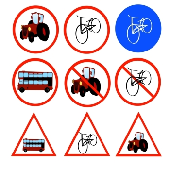 Vector illustration with road signs