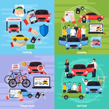 Carsharing Concept Icons Set . Carsharing concept icons set with joint travel symbols flat isolated vector illustration