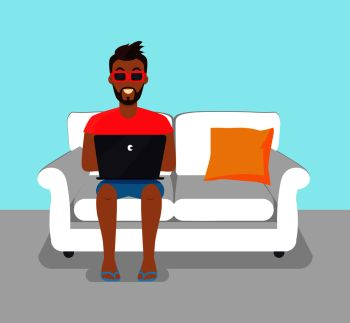 Cheerful bearded man freelancer in sunglasses working at home, vector illustration image with distant freelance worker sitting on white sofa and pillow. Cheerful Bearded Man Freelancer Working at Home