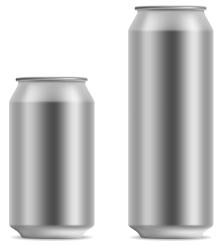 Blank beer can in 2 variants 330 and 500 ml isolated on white background.