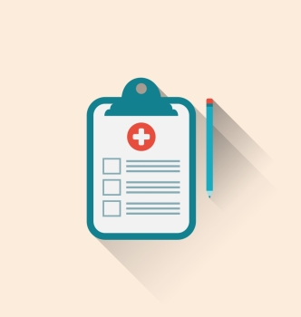 Illustrations medical record clipboard and pencil with long shadows - vector
