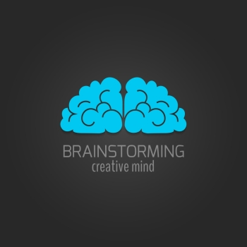 Human brain flat icon brainstorming creative mind concept isolated on dark background vector illustration