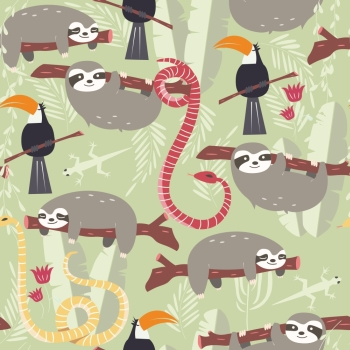 Seamless pattern with cute rain forest animals, toucan, snake, sloth, vector illustration