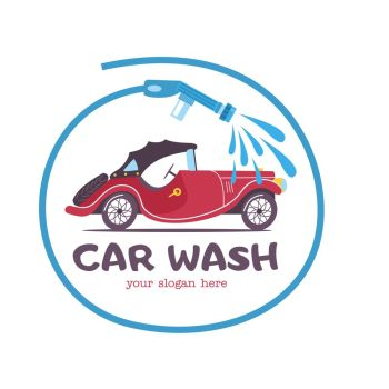 The emblem of the car wash. Vector illustration in cartoon style. Small retro car at the car wash, the emblem in the circle formed by the hose with water.