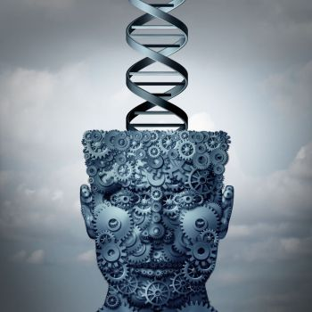Machine DNA concept and biochemistry technology symbol as a head made of gears with a human genetic strand as a medical symbol as a 3d illustration.