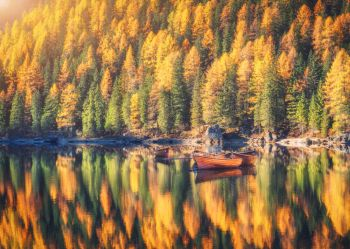 Wooden boats on Braies lake at sunrise in autumn in Dolomites, Italy. Landscape with fall forest, mountains, water with reflection, trees with colorful foliage. Travel in italian alps. Tranquil scene