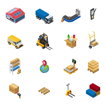 Warehouse Isometric Icons Set. Warehouse isometric icons set with delivery transport and related elements on white background isolated vector illustration