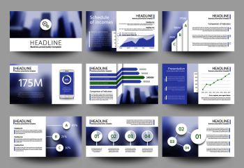 Multipurpose business presentation vector templates with blurred photo elements. Corporate brochure design with infographic elements. Promotion annual banner card with blurred backdrop illustration. Multipurpose business presentation vector templates with blurred photo elements. Corporate brochure design with infographic elements