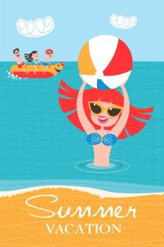 Summer vacation. Beach activities, banana boating, swimming in the sea with an inflatable ball.
