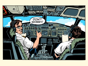 Aircraft cockpit pilots airplane captain pop art retro style. Aviation and travel. Aircraft cockpit pilots airplane captain