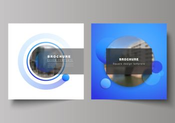 The minimal vector illustration of editable layout of two square format covers design templates for brochure, flyer, magazine. Creative modern blue background with circles and round shapes. The minimal vector illustration of editable layout of two square format covers design templates for brochure, flyer, magazine. Creative modern blue background with circles and round shapes.