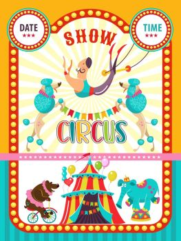 Circus artist. Circus animals. Poster of a circus show. Vector clipart. Circus trained elephant and a bear on a Bicycle, I invite you to the circus. In the program, performing poodles and aerial acrobat.