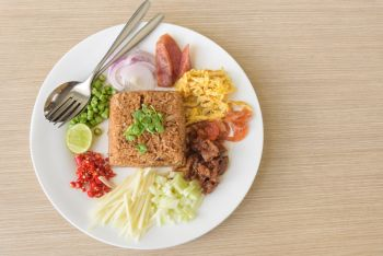Mixed cooked rice with shrimp paste sauce, traditional Thai style food