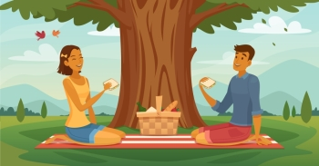 Summer Picnic Couple Retro Cartoon Poster. Sunny afternoon outdoor picnic together retro cartoon poster with young romantic couple lunching under tree vector illustration