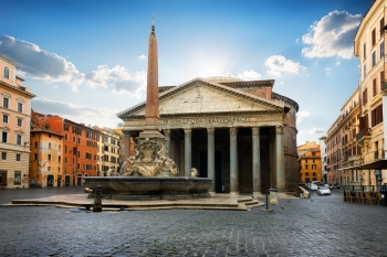 Pantheon on roman piazza in the morning, Italy