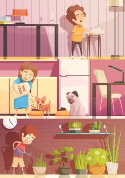 Kids Cleaning Cartoon Banners Set. Kids feeding pets watering plants and cleaning rooms 3 horizontal retro cartoon banners set isolated vector illustration