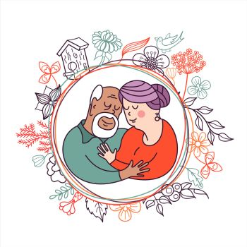 Happy day of the older person. An elderly couple, husband and wife hugging each other. Cute vector illustration of a greeting card.