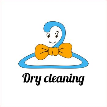 An image of a cartoon laundry symbol.. An image of a cartoonish manlike ute clothes rail symbol. Smiling happy coat-hanger with a bow tie. Can be used as a logo, icon, at advertising, promotional materials, throw-away leaflets.