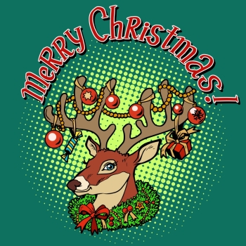 Deer Santa Claus merry Christmas pop art retro style. Animal with horns. Celebrations and congratulations. The symbol of Christmas and new year. Deer Santa Claus merry Christmas