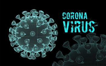 Coronavirus 2019-nCoV virus. Vector 3d illustration on black background. Coronavirus 2019-nCoV virus. Vector 3d illustration on black