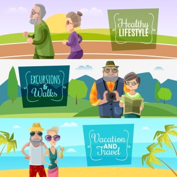Old Couple Horizontal Banners . Old couple horizontal banners with sports traveling and journey activities in cartoon style vector illustration