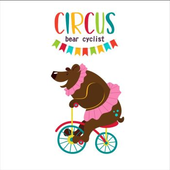 Circus artist. Circus animals. A trained circus bear riding a Bicycle. Vector illustration. Isolated on a white background.