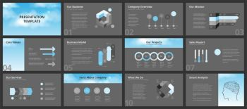 Business presentation templates. Vector infographic elements for company presentation slides, corporate annual report, marketing flyers, leaflets and brochures, banners and web design.