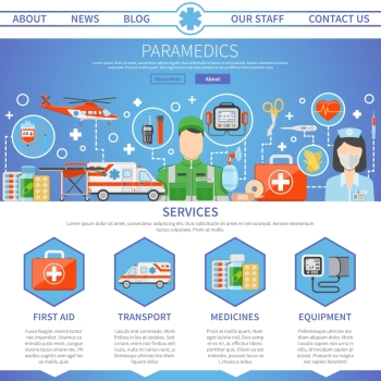 Paramedic One Page Template. Paramedic advertising template for website with contact information and decorative icons set of medical services tools and  ambulance transport flat vector illustration