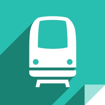 Train, transport flat icon, sticker square shape, modern color. Transport on the road