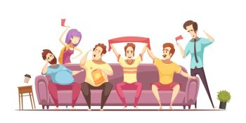 Sedentary Lifestyle Retro Cartoon Design. Sedentary lifestyle retro cartoon design with excited fans and fat persons on sofa during broadcasting vector illustration