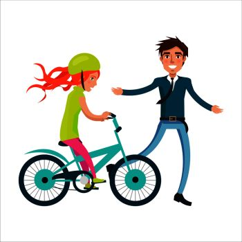 Family bike ride with dad and daughter on bicycle vector illustration isolated on white. Fatherhood concept, celebrating holiday together. Family Bike Ride with Dad and Daughter on Bicycle