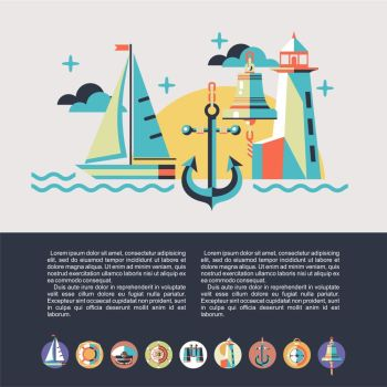 The concept of travel on a yacht. The rest of the sea. Illustration in flat style. Boat trips. Set of round icons.