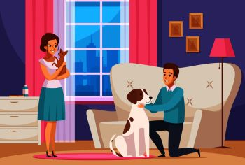 Happy family couple with big and little dogs in home interior cartoon composition vector illustration      . Family Couple With Pets At Home