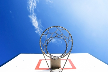 Basketball stand under blue sky, Concept of goal and success
