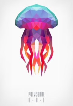 Abstract polygonal jellyfish. low poly illustration. Polygonal poster. Ladybird polygonal