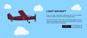 Light aircraft closeup of airplane in violet color web banner with place for text vector illustration. Fast mean of transportation for travelling by air. Light Aircraft Closeup of Airplane in Color Banner
