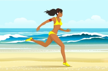 young woman in sporting clothes with headphones running on the beach. Summer activity or Sport concept. Vector illustration