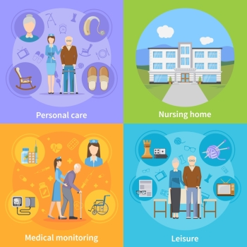 Nursing Home 2x2 Design Concept. Nursing home 2x2 design concept with personal elderly care medical monitoring and pensioners leisure compositions flat vector illustration