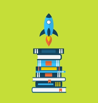 Illustration concept of start up idea, flat icons of heap textbooks and rocket - vector
