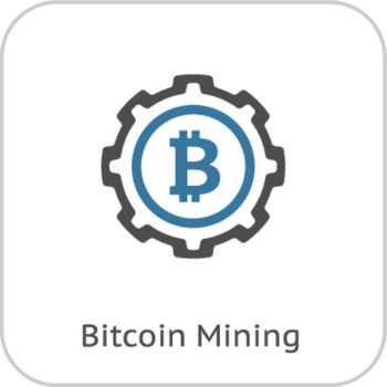 Bitcoin Mining Icon.. Bitcoin Mining Icon. Modern computer network technology sign. Digital graphic symbol. Cryptocurrency mining. Concept design elements.