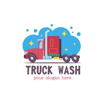 Emblem truck car wash. Vector illustration in cartoon style. The truck in the water droplets and the foam on the wash.