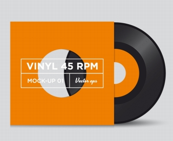 Vinyl record 45 RPM with cover, mock up