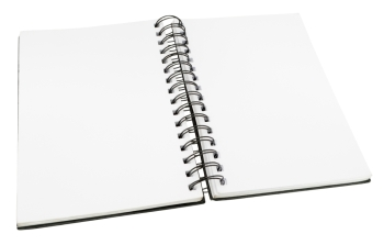 Open Diary With Blank Pages With Spiral Binding - Isolated on White Background