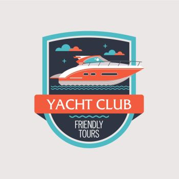 The logo, the emblem of the yacht club. Sea travel. Vector illustration.