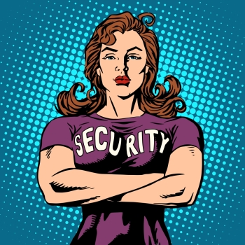 woman security guard pop art retro style. Security Agency protection and sport. woman security guard