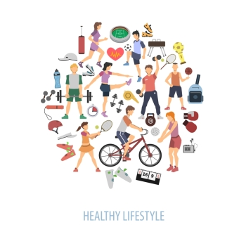 Healthy lifestyle concept with people playing sport games flat vector illustration. Healthy Lifestyle Concept
