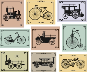 Vector set of old bikes and cars on a colorful background