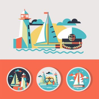 Vector illustration in flat style. Sailing boat, lighthouse, cap captain. Round vector icons.