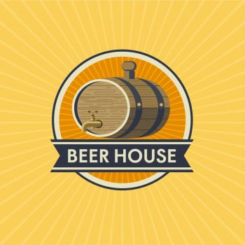 Logo of the brewery, Beer house. Beer barrel. Vector arms.